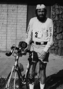 Bob at the third ever Ironman Triathlon in 1980 - there were only 108 entrants in that race, and there were only 15 in the field the year before. Bob is shown with his $75 police auction bike.