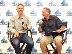 Mark Allen and Bob Babbitt share a laugh at a Tri Club of San Diego Q&A Session