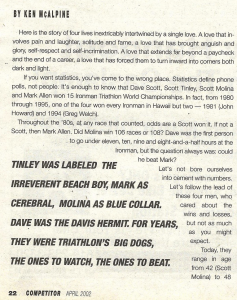 One of Ken McAlpine's articles from the pages of Competitor Magazine: The Big Four, from April, 2002