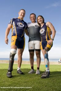 Robin Williams with CAF's Operation Rebound athletes David Rozelle and Melissa Stockwell