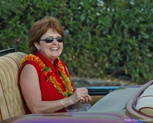 Ironman Triathlon World Championship Race Director Sharron Ackles at the 2002 Ironman Parade of Nations. Photo by Tony Svensson