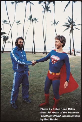The 1979 pre-race favorite, defending champion Gordon Haller and Superman John Dunbar, who finished 2nd in '78 and '79 (Photographed at the start of the 1979 Ironman at Sans Souci Beach in Waikiki)