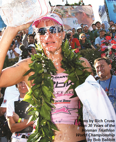 Michellie Jones at the finish in 2005, after running just her second marathon - ever.