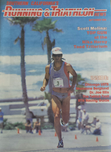 'The Terminator' on the cover on Running & Triathlon News, September 1986, after winning the first Nike Horny Toad Triterium