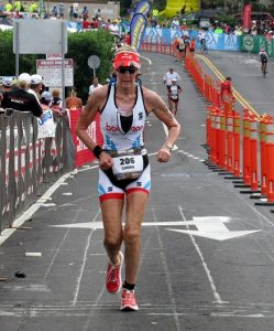 Legendary age-group athlete, 71 year old Cherie Gruenfeld (hey, that name is familiar!) on her way to her 13th age division win, and her final Ironman Hawaii.