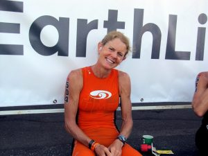 Ellen Hart before the swim. Ellen would go on to win the 55-59 division.