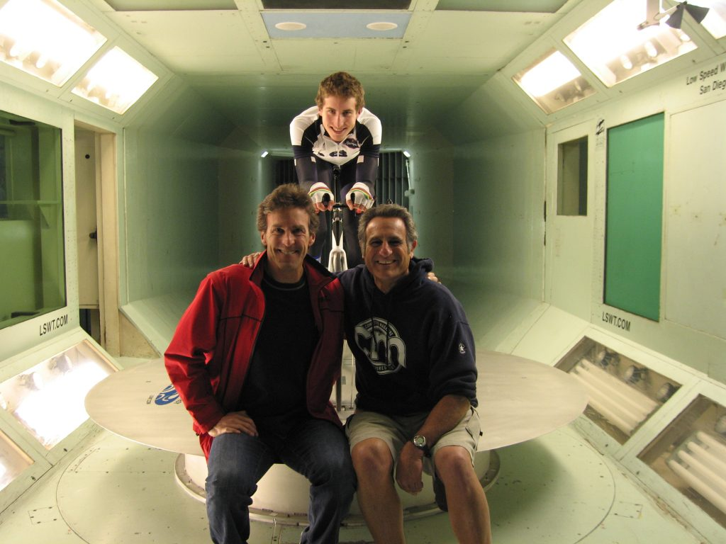 Davis Phinney and Taylor Phinney at the San Diego Wind Tunnel, January 2008
